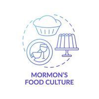 blaue Farbverlaufskonzeptikone der mormonischen Esskultur vektor
