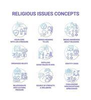 religiöse Themen und Werte blaue Konzeptsymbole gesetzt vektor