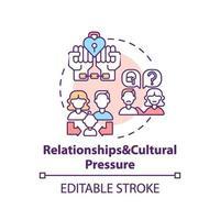 förhållande och kulturellt tryck koncept ikon vektor