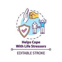 hilft mit Lebensstressoren Konzeptsymbol umzugehen vektor