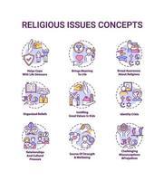 religiöse Themen und Werte Konzeptsymbole gesetzt vektor