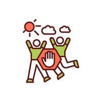 sportaktiviteter under covid-19 rgb färgikon vektor