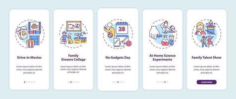 familje roliga idéer ombord mobilappsskärm med koncept vektor