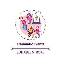 traumatiska händelser koncept ikon vektor
