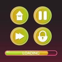 uppsättning av spel ui ikon knapp och laddar skärmen bar element för 2d spel vektorillustration