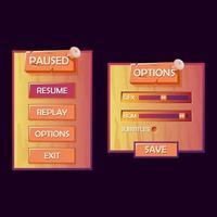 Holzspiel UI Kit Pop-up. pausiert und Optionsmenü für 2d GUI-Spiele Vektor-Illustration vektor