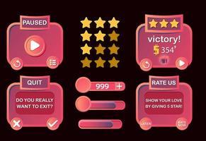Satz von Spiel-UI-Level abgeschlossen, Menü pausieren, beenden und bewerten Pop-up für GUI-Asset-Elemente Vektor-Illustration vektor