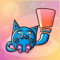 Dies ist eine süße lustige Cartoon-Katze mit grünen Augen und einem langen Schwanz in Form eines Ausrufezeichens. vektor
