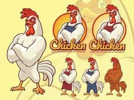Hühnerkoch Maskottchen Design für Fast-Food-Geschäft vektor