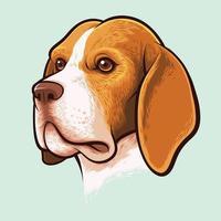 beagle hund porträtt vektor