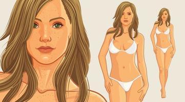 Bikinimädchen, das weißen Bikini trägt vektor