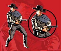 Action Western Revolverheld schießen vektor