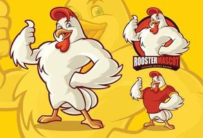 Hühnermaskottchen für das Lebensmittelgeschäft mit optionalem Aussehen vektor