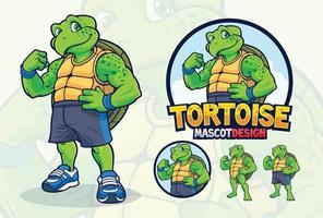 sköldpaddsmaskotdesign för företag eller sportlag vektor
