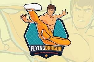 Flying Kick Fighter-Aktion für Kampfkunstillustration oder Fitnessstudio-Logo-Design vektor