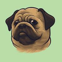 mops hund porträtt vektor