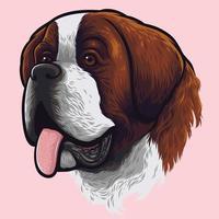 saint bernard hund porträtt vektor