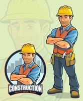 byggnadsarbetares maskotdesign för byggföretag vektor