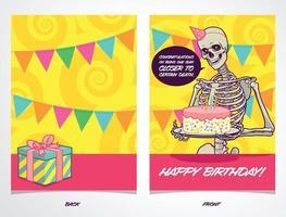 Geburtstagskarte mit Skelett, das einen dunklen Witz erzählt vektor