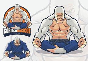 Gorilla-Maskottchen für brasilianische Jiu Jitsu und Kampfkunst-Logoillustration vektor