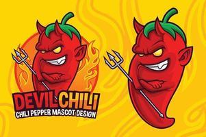 Teufel Chili Pfeffer Maskottchen Design vektor
