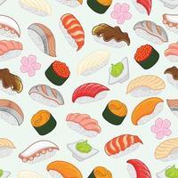 Sushi-Muster für Hintergrund, umwickeln nahtloses Muster vektor