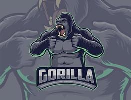gorilla slår bröstet vektor
