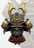 Samurai-Helm mit Drachengesichtszubehör vektor
