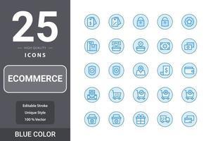 e-handelspaket för din webbdesign, logotyp, app, användargränssnitt. e-handel ikon blå färg design vektor