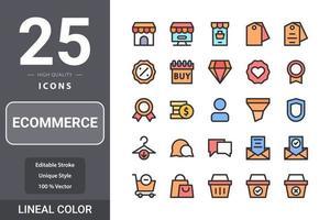 E-Commerce-Paket für Ihr Website-Design, Logo, App, UI. E-Commerce-Symbol lineares Farbdesign vektor