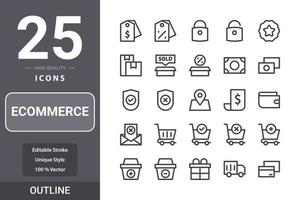 E-Commerce-Paket für Ihr Website-Design, Logo, App, UI. E-Commerce-Symbol Gliederung Design vektor