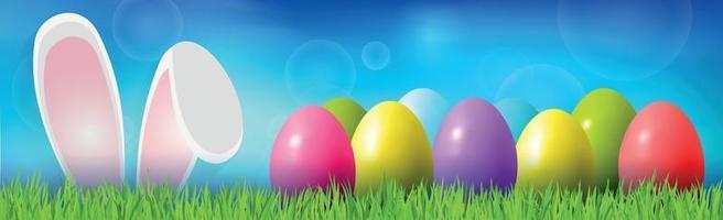 påskbakgrund med färgglada ägg som ligger på gräset, kaninöron - vektorillustration vektor