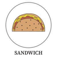 abstrakt stor smörgås, pitabröd på vit bakgrund - vektor