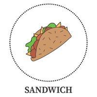 abstraktes großes Sandwich, Pita auf weißem Hintergrund - Vektor