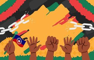 Hände und Kette, um die Freiheit am 19. Juni zu feiern vektor