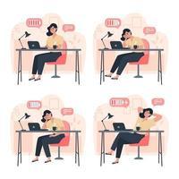 produktiv arbetare och trött arbetare, produktivitet under arbetsdagen, stress eller utbrändhet