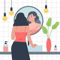 daglig personlig vård, hudvård daglig rutin, tjej står framför en spegel i badrummet och tittar på sig själv i eftertanke