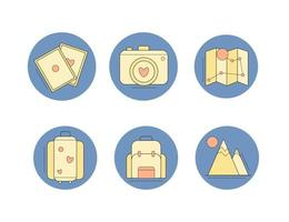 uppsättning resesymboler platt design