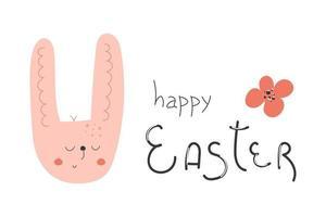 handritad söt kaninhuvud, blomma och med text glad påsk. gratulationskort koncept. vektor