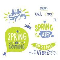 bunte Frühlingsbeschriftung. Kalligraphie Hallo Frühling, grün und blau. der Frühling kommt vektor