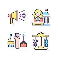 feminism rgb färgikoner set vektor