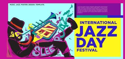 Vektor bunte internationale Jazz Tag Banner Design