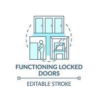 fungerande låst dörr koncept ikon vektor