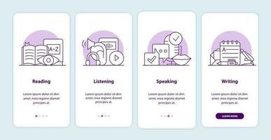 Onboarding-App-Bildschirmseiten für Sprachprüfungen vektor