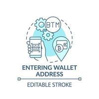 Eingabe des Symbols für das Brieftaschenadressenkonzept vektor
