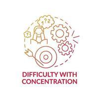 svårighet med koncentration koncept-ikonen vektor