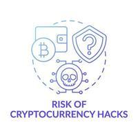 risken för kryptovaluta hackar konceptikonen vektor