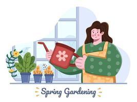 vårträdgårdsaktiviteter hemma illustration med personen vattna växten eller blommor i kruka. trädgårdsskötsel hemma under vårsäsongen. trädgårdsarbete som är lämpligt för gratulationskort, vykort, banner, webbplats, affisch, flygblad