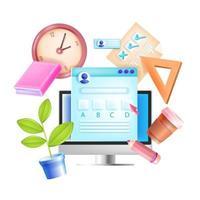 Online-Prüfung, Vektor Internet entfernte Testillustration, Computerbildschirm, Uhr, Briefpapier, Kontrollkästchen. E-Learning Web Digital Education Konzept, Buch, Fragebogenformular. Online-Prüfung, Checkliste, Note