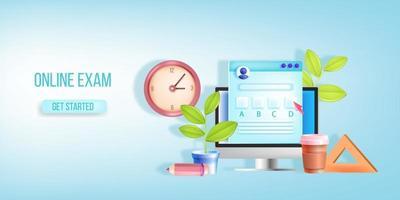 Online-Prüfung, Internet-Fernschultest, Vektor-Banner, Landingpage, Uhr, Computerbildschirm. Checkliste für Web-Quiz, Kontrollkästchen, Fragebogenanwendung. Online-Prüfung für digitale Bildung, blauer Hintergrund vektor